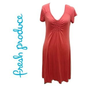 Fresh Produce Size M Orange Dress Stretch Solid